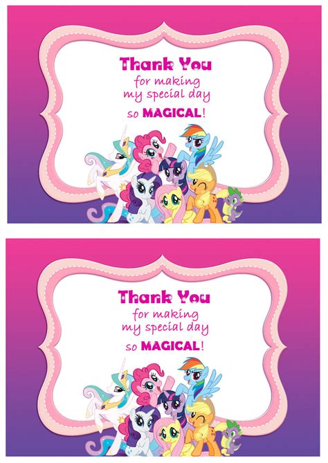 my pony thank you card template thank you photo cards bright fox and friends thank you