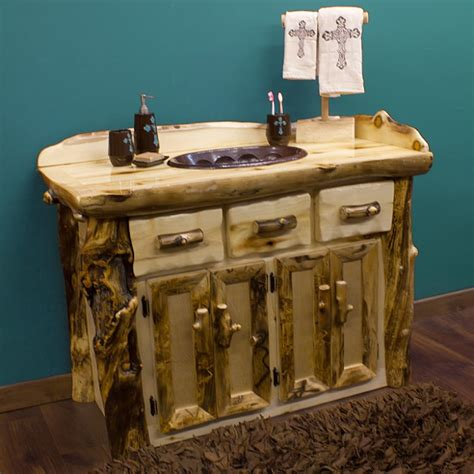rustic bathroom furniture rustic aspen log bathroom vanity from the aspen lodge