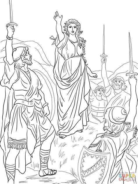 coloring pages for the book of judges deborah leads israel coloring page free printable