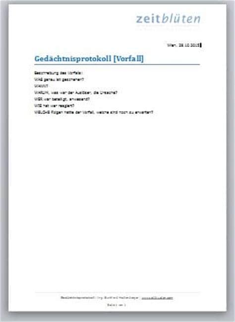 Mahnung Erinnerungsschreiben Muster Ged 228 Chtnisprotokoll Schreiben So Geht S Zeitbl 252 Ten