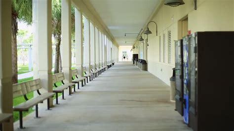 outdoor hallway   school stock footage video