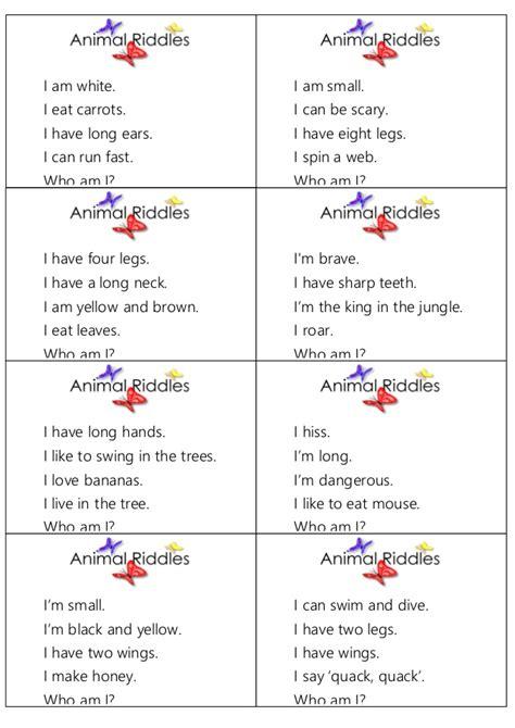 free printable animal riddles animal riddles