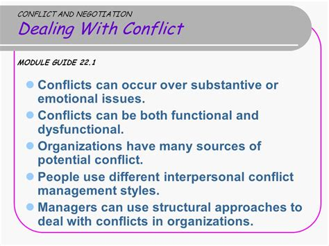 12 Basic Tips For Dealing With Conflict module 23 conflict and negotiation ppt