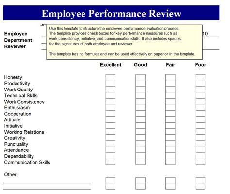 simple performance review template free printable employee review forms search results