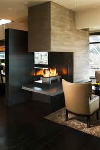 modern fireplace design ideas set in center feature wall