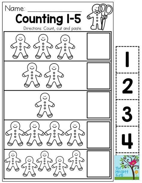 gingerbread man printable activities for preschool count 1 5 with gingerbread men you could use this as a