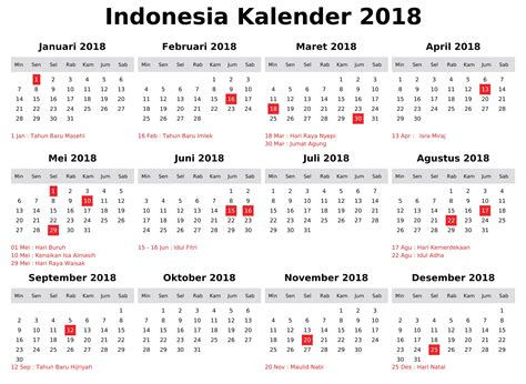 Printable Calendar 2018 Indonesia | free calendar 2018 indonesia with holidays free