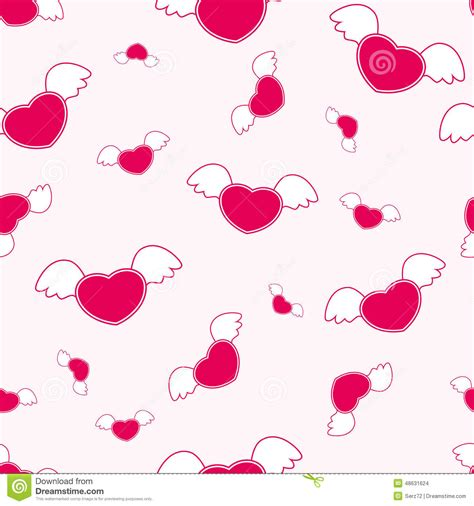 seamless heart pattern vector seamless pattern with heart and wings vector stock vector