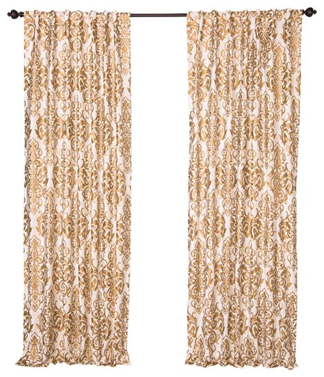 gold print curtains cotton velvet panel white with gold print 84