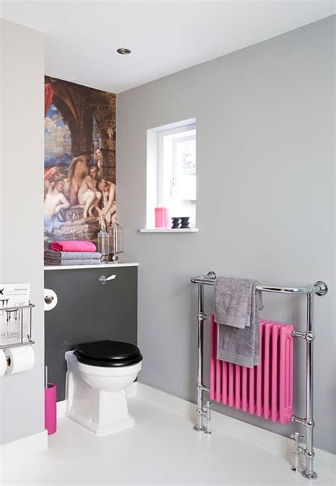 gray and red bathroom 25 bathrooms that beat the winter blues with a splash of