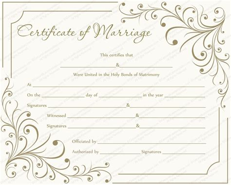 free printable marriage certificate template inspirational wedding ceremony certificate template free