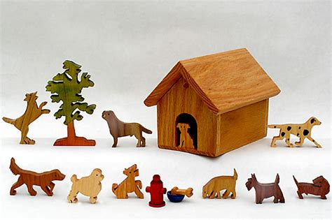 Dog House With Wood Dog Figures Wooden Animal Sets Animal Toys Handmade Toy Animals