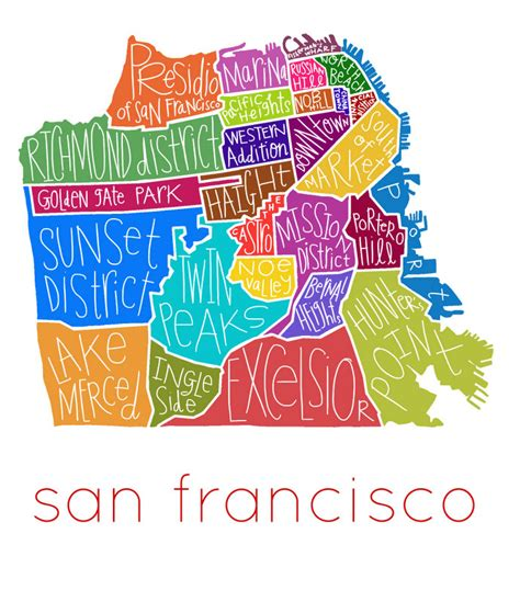 san francisco neighborhood map poster sf neighborhood map my
