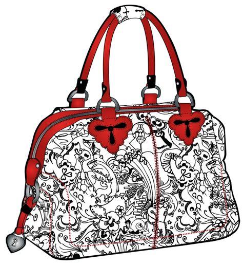 Tas Tangan Garis Kulit Handbag Fashion Embroidery Line Bta141 white handbag with black print orange coloured handles and zip bag illustration