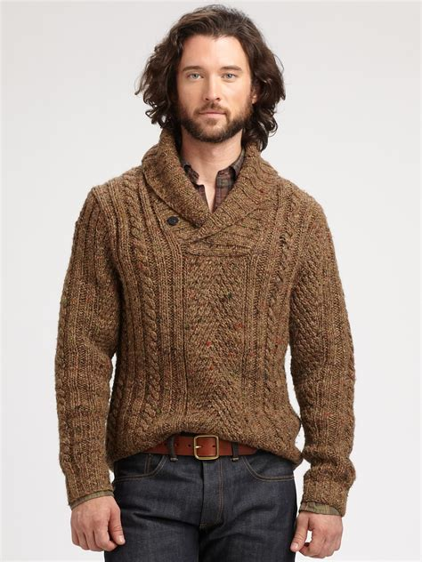Polo Collar Pullover lyst polo ralph shawl collar pullover in brown