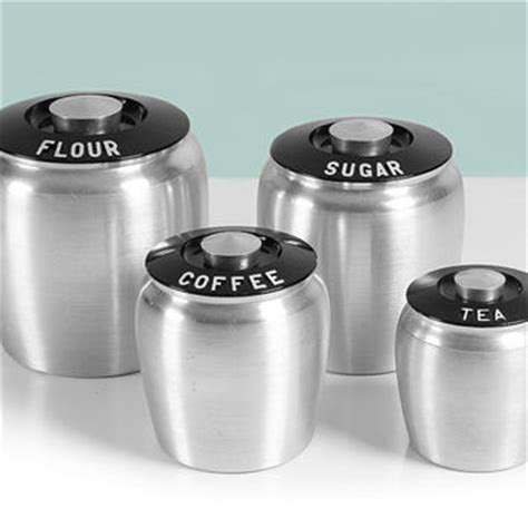 aluminum kitchen canisters flour sugar by jerseyfreshvintage best tea and coffee canisters products on wanelo