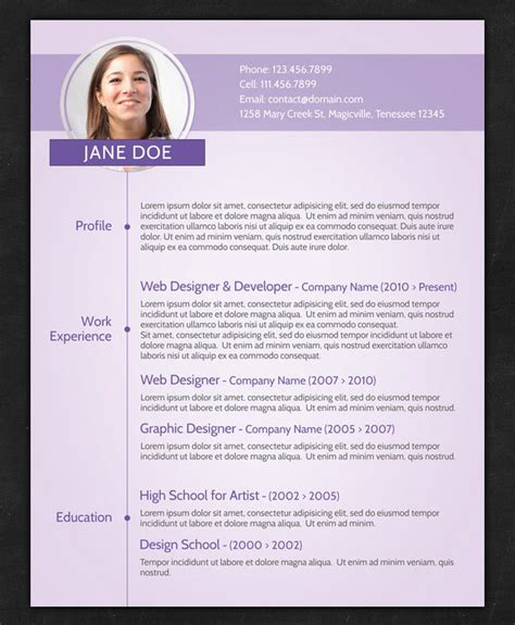 photo resume template 21 stunning creative resume templates