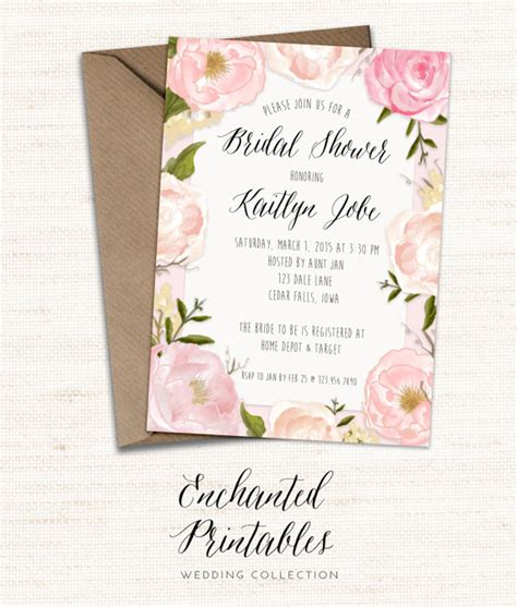 Bridal Shower Evite by Rustic Bridal Shower Invitation Printable