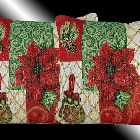 set red christmas poinsettas tapestry throw pillow cases