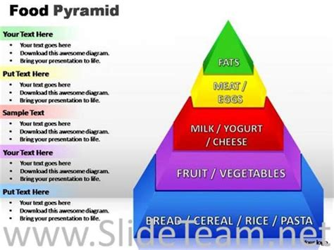 diagram of the food pyramid proportion of food types pyramid diagram powerpoint diagram