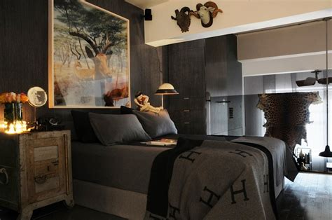 masculine decorating ideas brown laminate wooden floor complete masculine bedroom