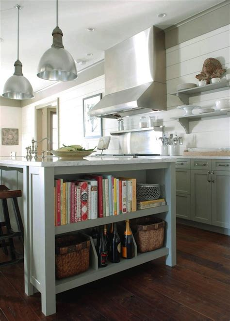 kitchen island with open shelves gray green kitchen cabinets cottage kitchen benjamin