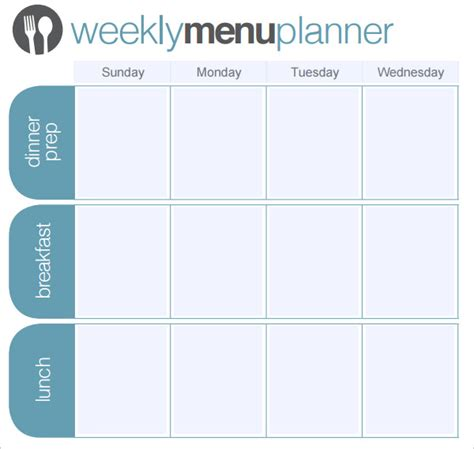 weekly menu planner template word menu planner template 18 free word psd pdf eps