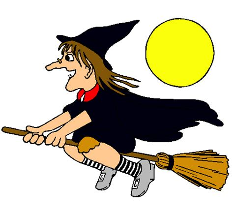 imagenes de halloween y brujas dibujo de bruja en escoba voladora pintado por antonela en