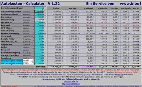 Kfz Versicherung Rechner österreich by Auto Kosten Rechner Freeware De