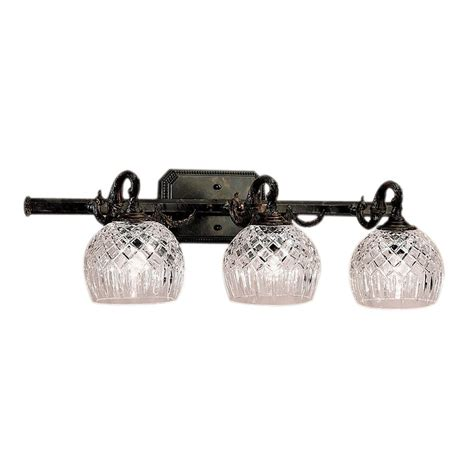 crystal vanity lights bathroom shop classic lighting 3 light waterbury oxidized bronze