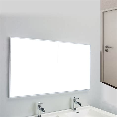 Frame Bathroom Wall Mirror Eviva Sax 48 Quot Brushed Metal Frame Bathroom Wall Mirror Decors Us