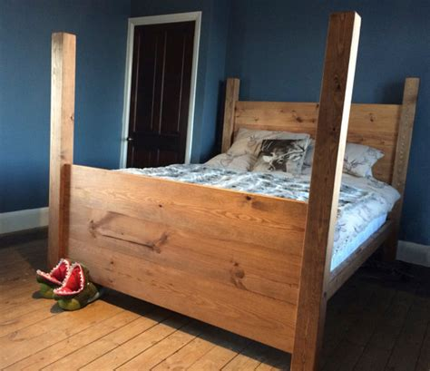 Handmade Wooden Bed - handmade solid chunky wood four poster bed by