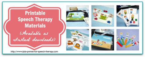 Therapy Resources Printable Speech Therapy Activities