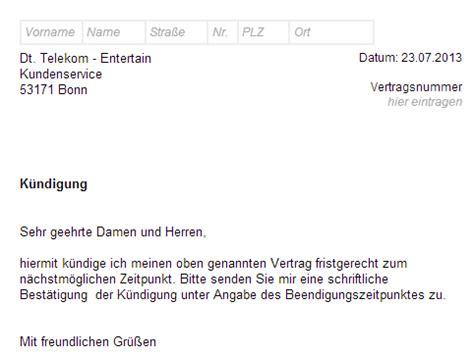 Muster Kündigung Telekom Festnetz Telekom Entertain K 252 Ndigen Vorlage Chip