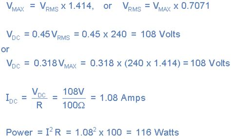 rectifier circuit equations physics diode basic half wave rectifiers leds