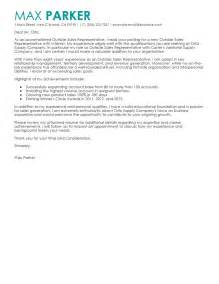 sales representative cover letter sles leading professional outside sales representative cover