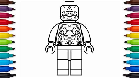 coloring pages lego captain america how to draw lego captain america marvel superheroes