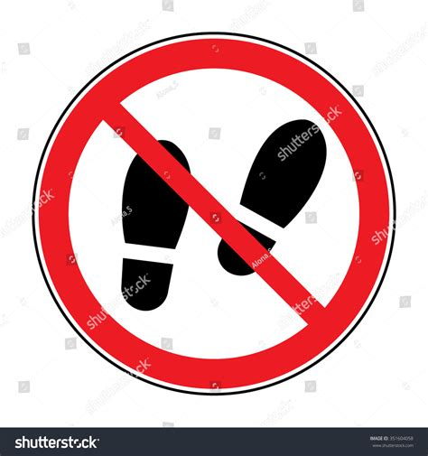 no slippers allowed sign no shoes sign warning do not stock vector 351604058