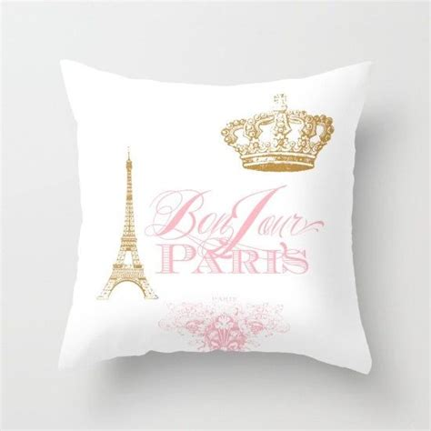 Bedroom Home Decor by Paris Pillow Bonjour Paris Pink Gold White Throw Pillow Rectangle Eiffel Tower Girlie