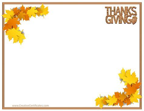 thanksgiving border templates customizable printable