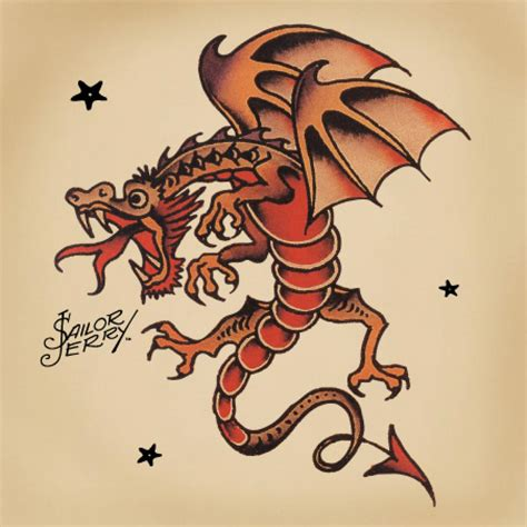 traditional dragon tattoo traditional sailor jerry jerrys dragons
