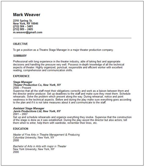 theatre resume templates theatre resume exle free templates collection