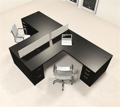 2 Person L Shaped Desk Two Person L Shaped Modern Divider Office Workstation Desk Set Ch Amb Sp33 H2o Furniture