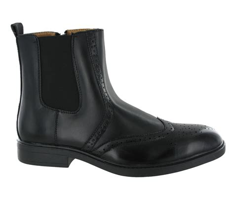 mens zip up chelsea boots pull on chelsea side zip up dress brogues dealer mens
