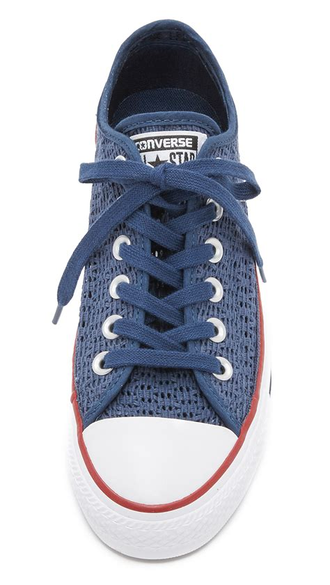 converse crochet sneakers converse chuck all crochet sneakers in blue lyst