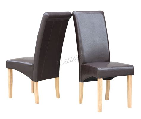 Leather Back Dining Chairs with New Brown Faux Leather Dining Chairs Roll Top Scroll High Back Wood Legs Kitchen