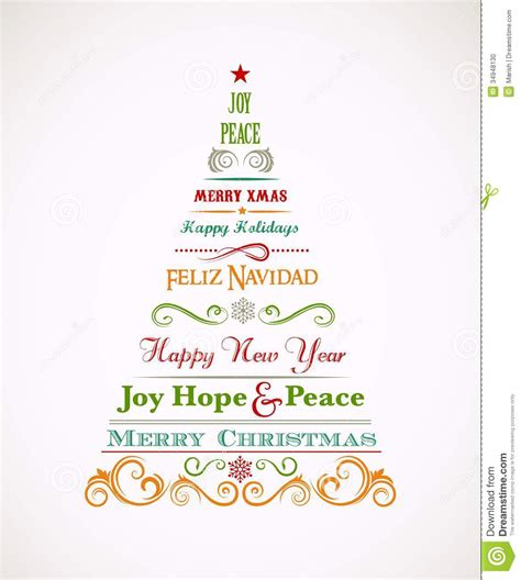 vintage christmas tree with text and elements stock photo