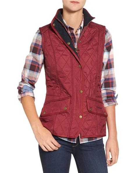 barbour cavalry quilted vest in burgundy lyst