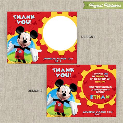 Mickey Mouse Printable Birthday Cards Disney Mickey Mouse Clubhouse Printable Birthday Thank You