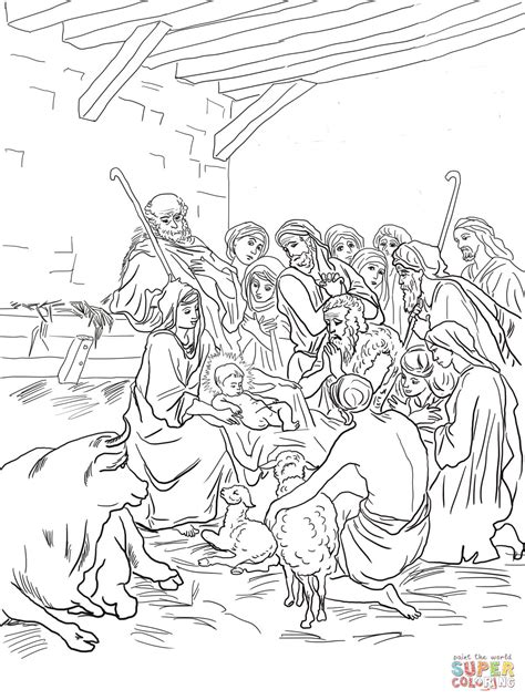 nativity scene animals coloring pages nativity scene with holy family shepherds and animals